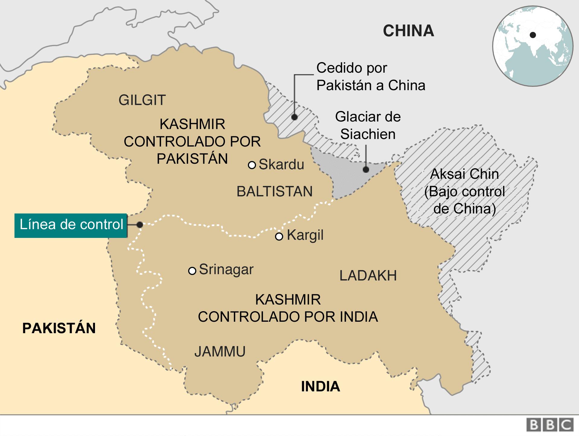 Mapa de la zona de conflicto