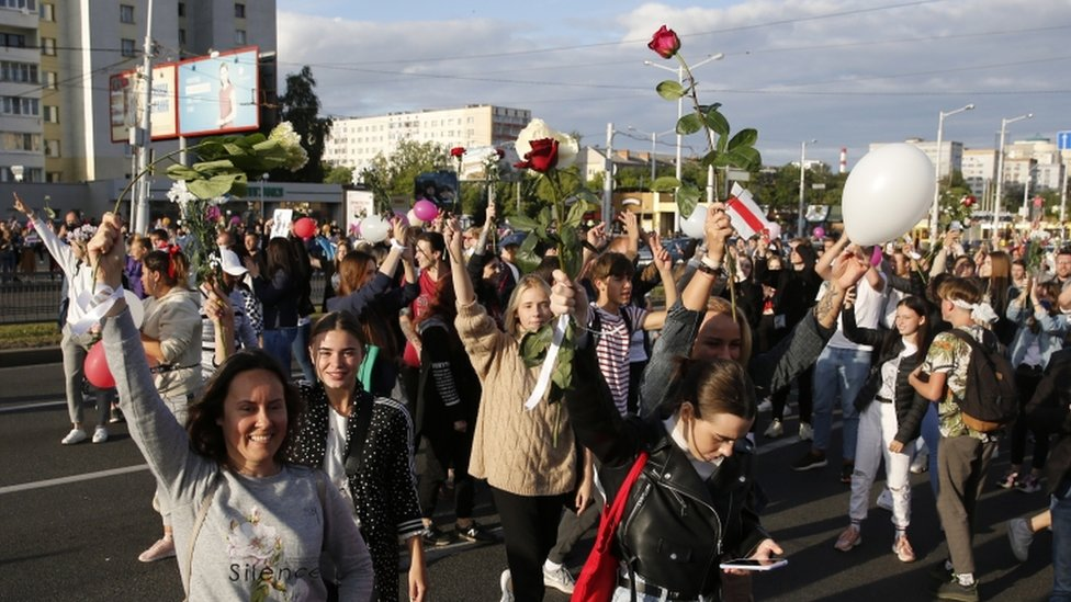 Protesters in Minsk, Belarus 13 August 2020