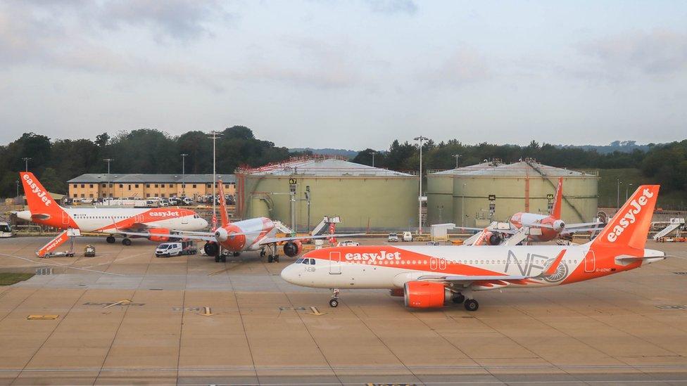 Gatwick Havaalanı'ndaki Easyjet uçakları