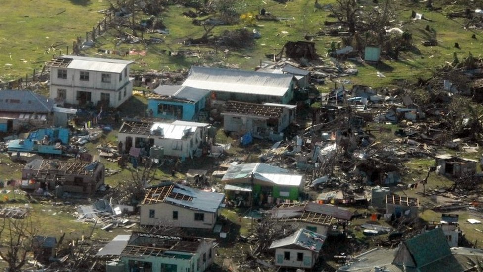 A remote Fijian village is photographed from the air during a surveillance flight conducted by the New Zealand Defence Force (22 February 2016)