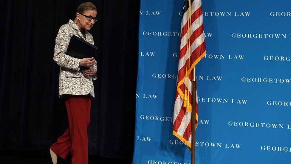 US Supreme Court Justice Ruth Bader Ginsburg arrives at a lecture 26 September, 2018 at Georgetown University Law Center in Washington, DC