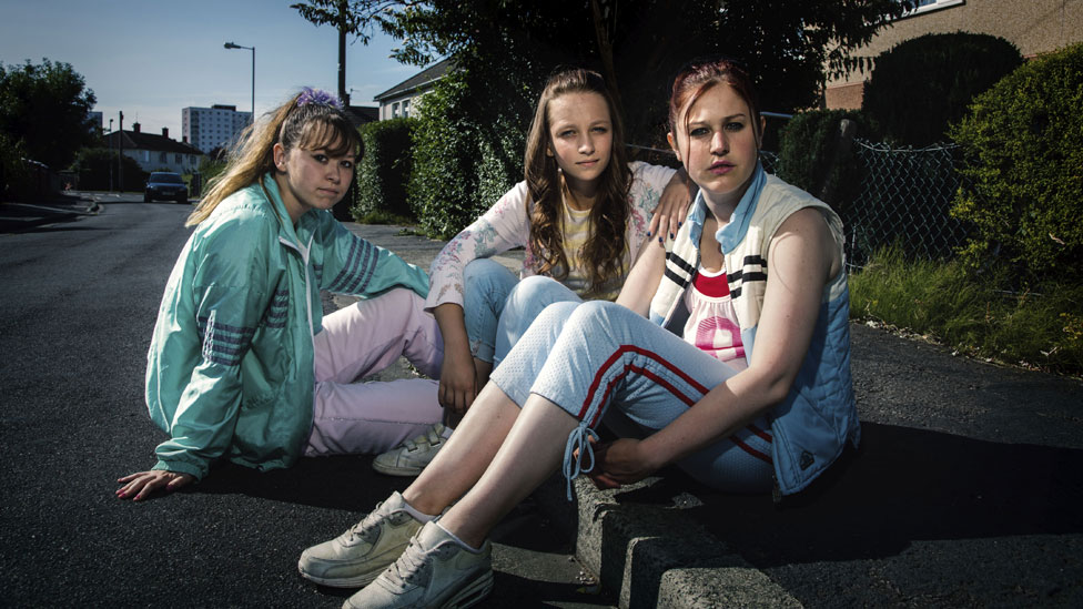 Liv Hill, Molly Windsor and Ria Zmitrowicz in Three Girls