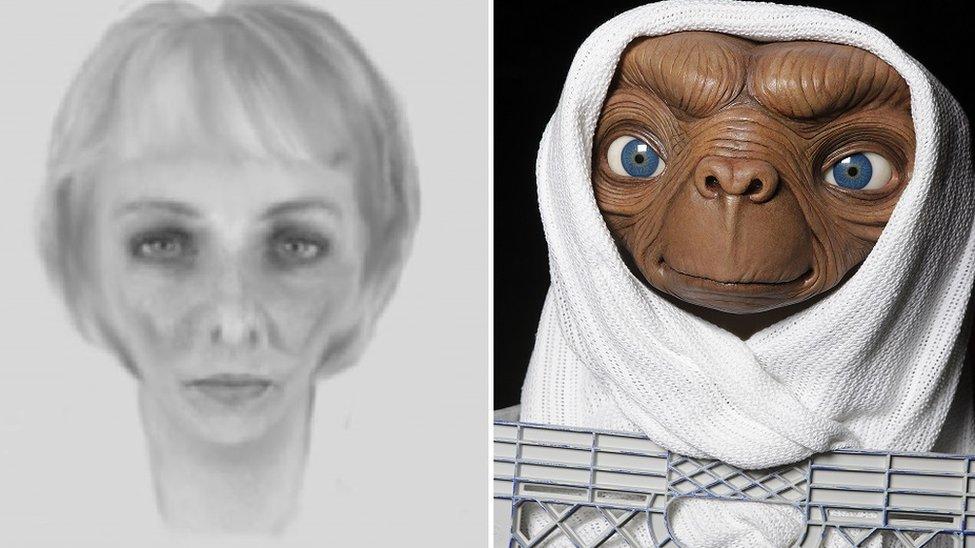 'Skinny woman' Staffordshire Police e-fit compared to E.T.