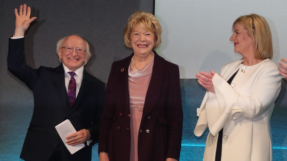 Sinn Féin candidate Liadh Ní Riada applauds Michael D Higgins on his win