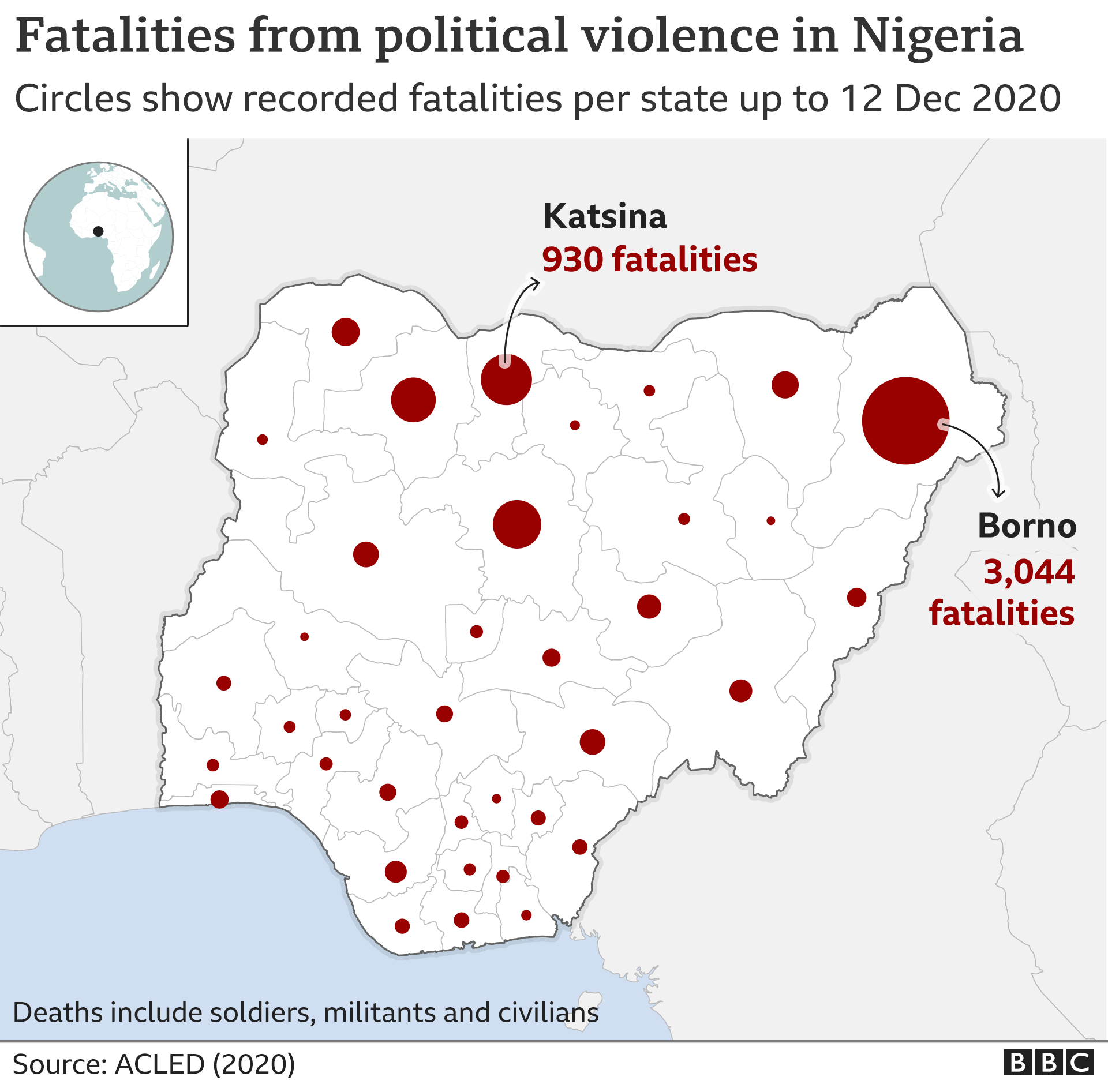 A map of Nigeria showing the concentration of deaths in each state