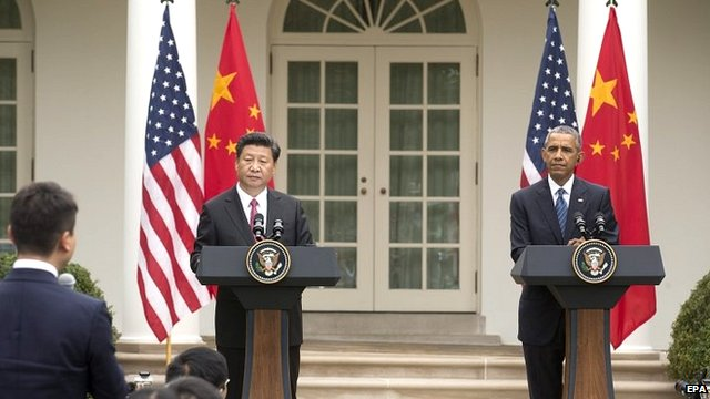 President of China Xi Jinping (left) and US President Barack Obama