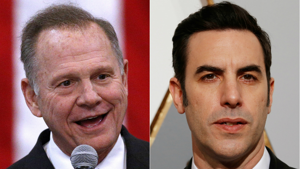 Composite image of Roy Moore and Sacha Baron Cohen