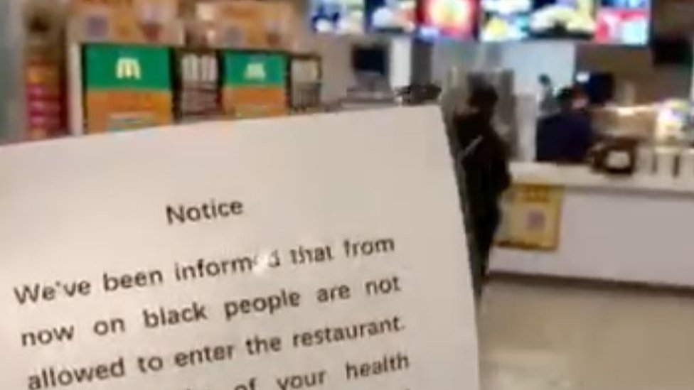 Notice in McDonald`s restaurant saying