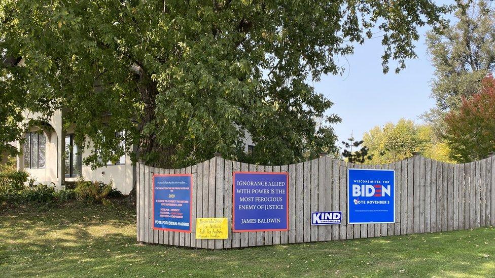 Signs for Joe Biden in a rural Wisconsin neighbourhood