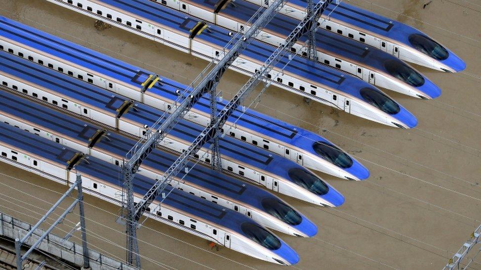 The Hokuriku-Shinkansen line trains were parked in a yard in Nagano city