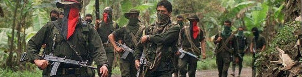 Guerrilla soldiers of the National Liberation (ELN),on patrol in Sarare, 27 February, 2000 in the Department of Arauca
