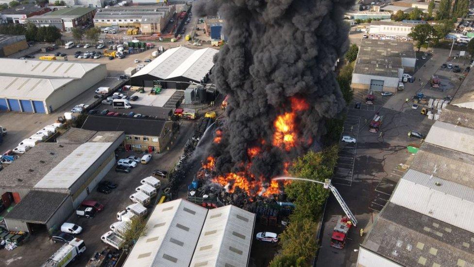 Drone shot of the blaze