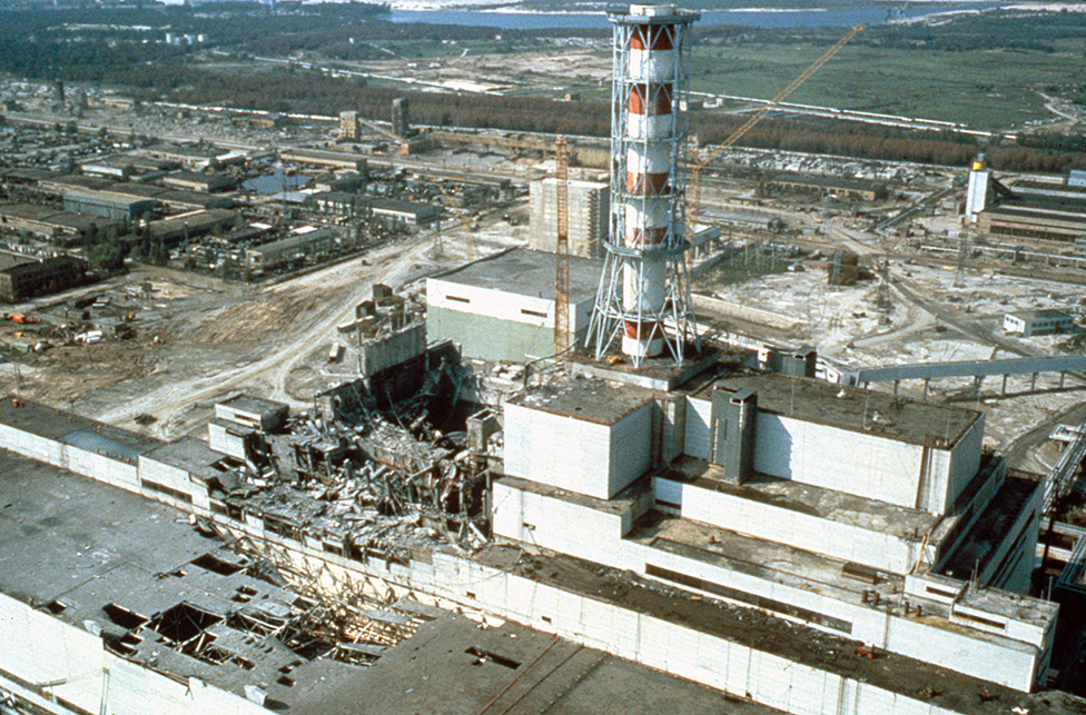 Chernobyl nuclear power plant a few weeks after the disaster in 1986