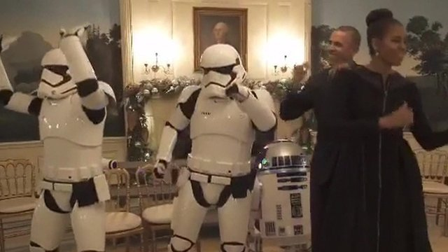 The Obamas dance alongside Star Wars characters