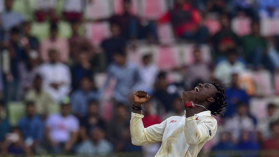 Brandon Mavuta celebrates.