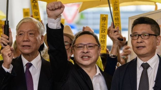 Chu Yiu-ming, Benny Tai and Chan Kin-man (left to right) had called for civil disobedience