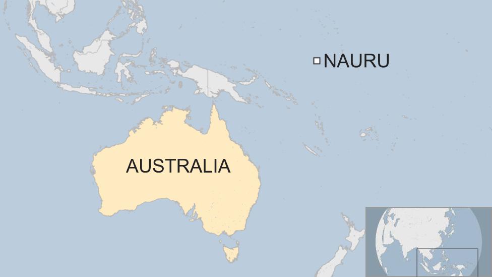 A map showing Australia and Nauru