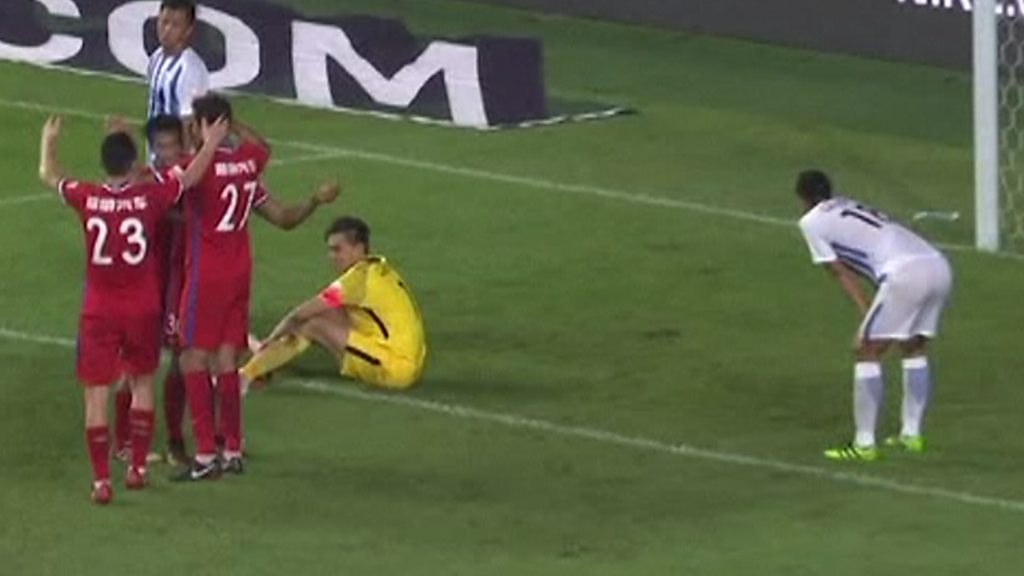 Chinese Super League: Bizarre own goal rebounds off team-mate and goes in