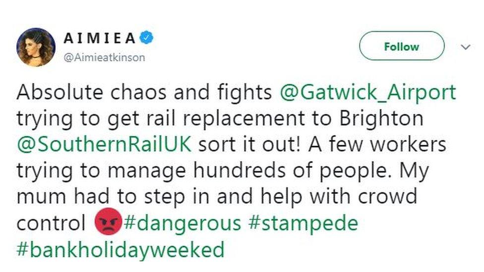 Aimie Atkinson's tweet