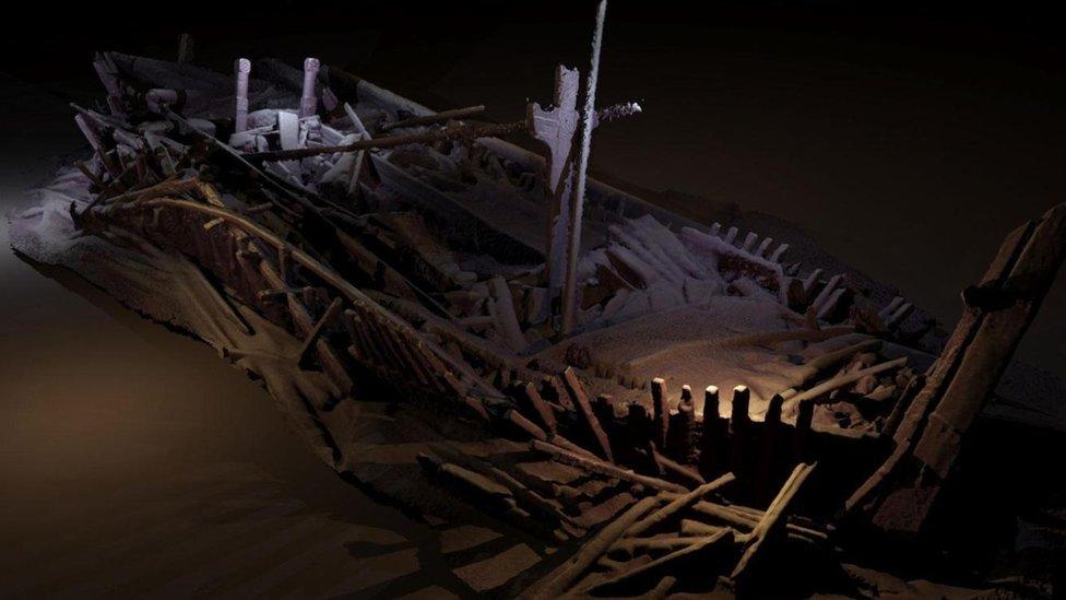 Reconstrucción de un barco griego naufragado.