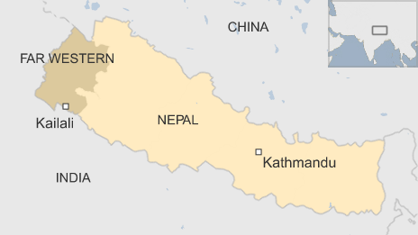 Map showing location of Kailali