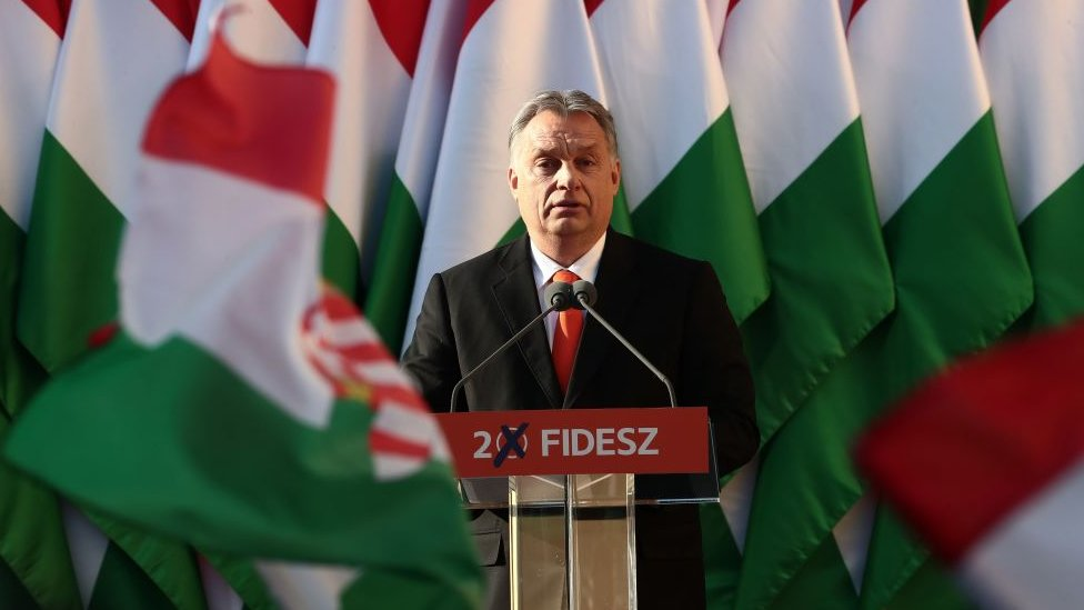 Viktor Orban speaking to supporters during the election campaign