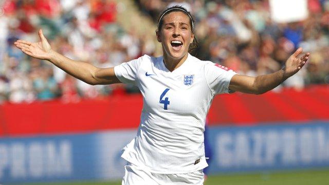 England's Fara Williams celebrates after scoring against Japan