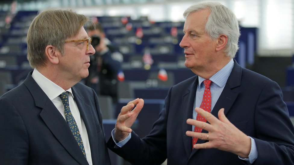 Michel Barnier (R) from France and Guy Verhofstadt from Belgium
