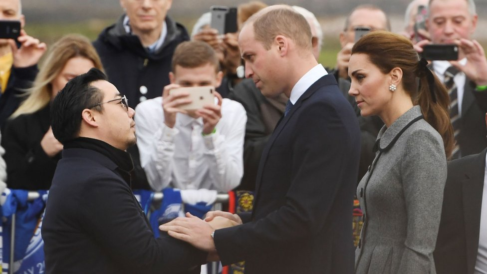 Aiyawatt Srivaddhanaprabha, Mr Vichai's son, and the Duke and Duchess of Cambridge