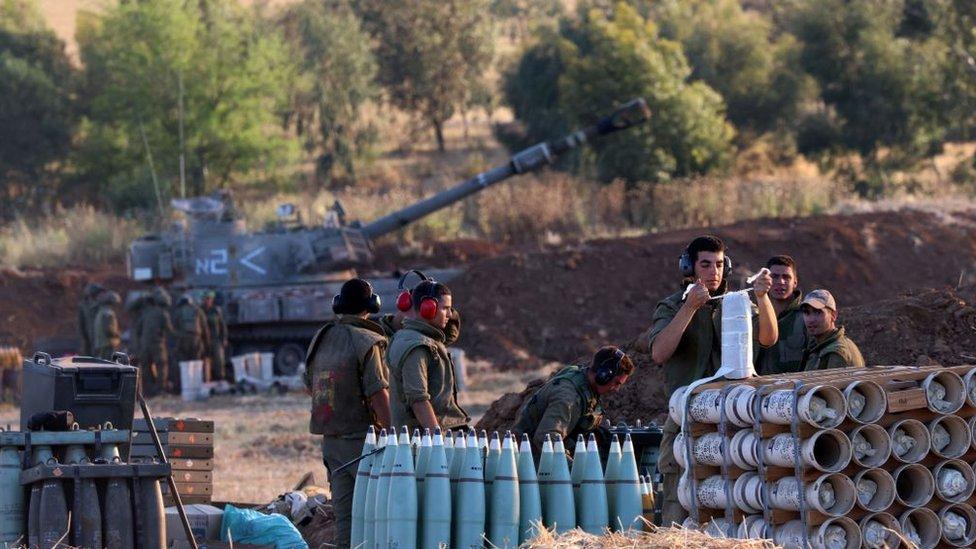 Tropas de Israel en la frontera con Gaza.