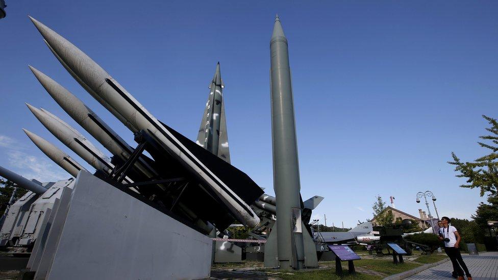 Visitor views a North Korean Scud-B missile (C) at the Korea War Memorial Museum in Seoul, South Korea, 15 September 2015
