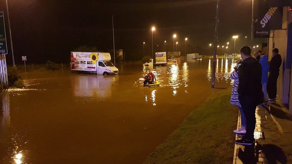 Flooding in Whitehouse near Londonderry