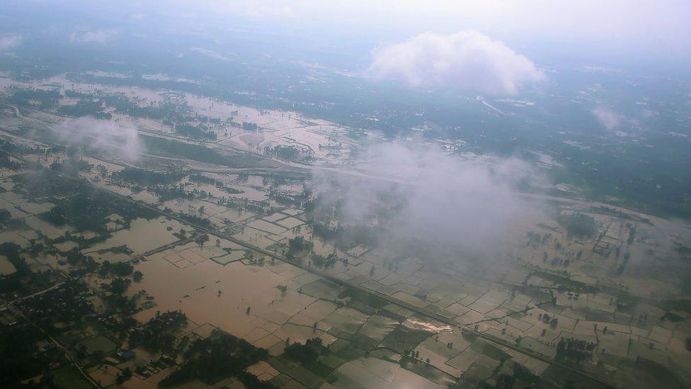 An aerial view shows flooded fields near Janakpur, Nepal.