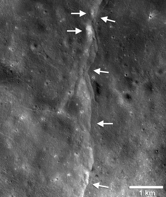 Falla en la superficie lunar