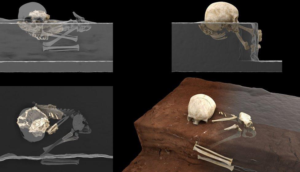 Reconstrucción virtual de los restos homínidos descubiertos en la cueva Panga ya Saidi y la reconstrucción de la posición original de los restos del menor como fue descubierto. (Derechos reservados de Jorge González/Elena Santos)