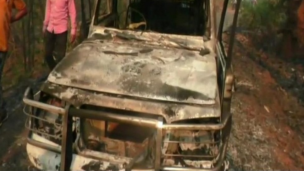 The burnt car set on fire by Maoists