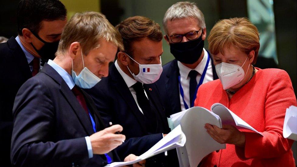 Chancellor Merkel (R) at EU summit in Brussels, 20 Jul 20