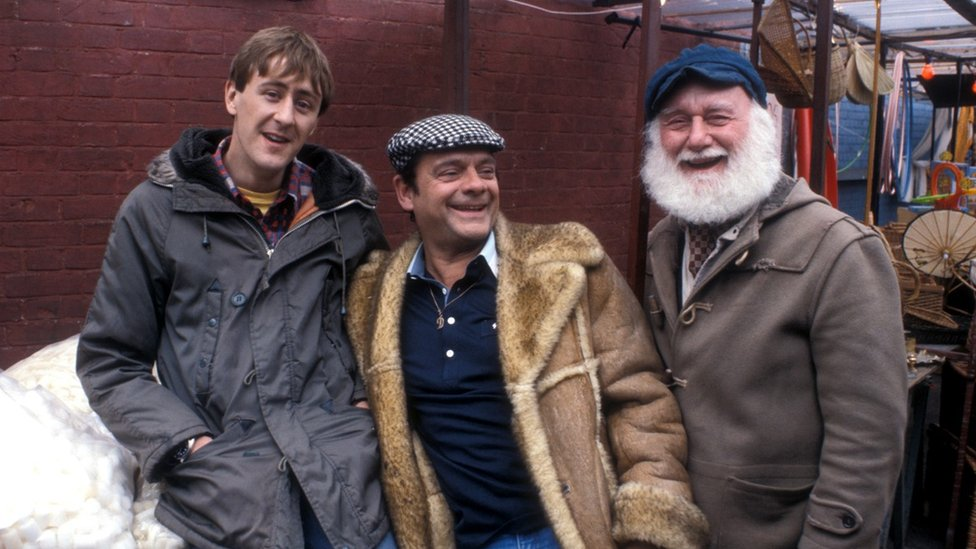 Nicholas Lyndhurst, David Jason and Buster Merryfield laughing on set during filming in 1986