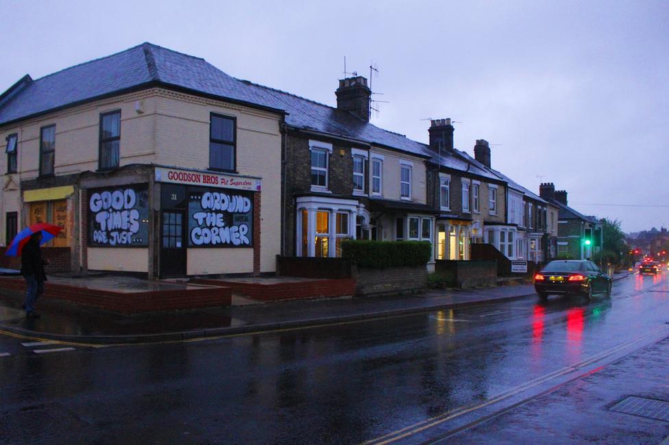 A rainy street corner