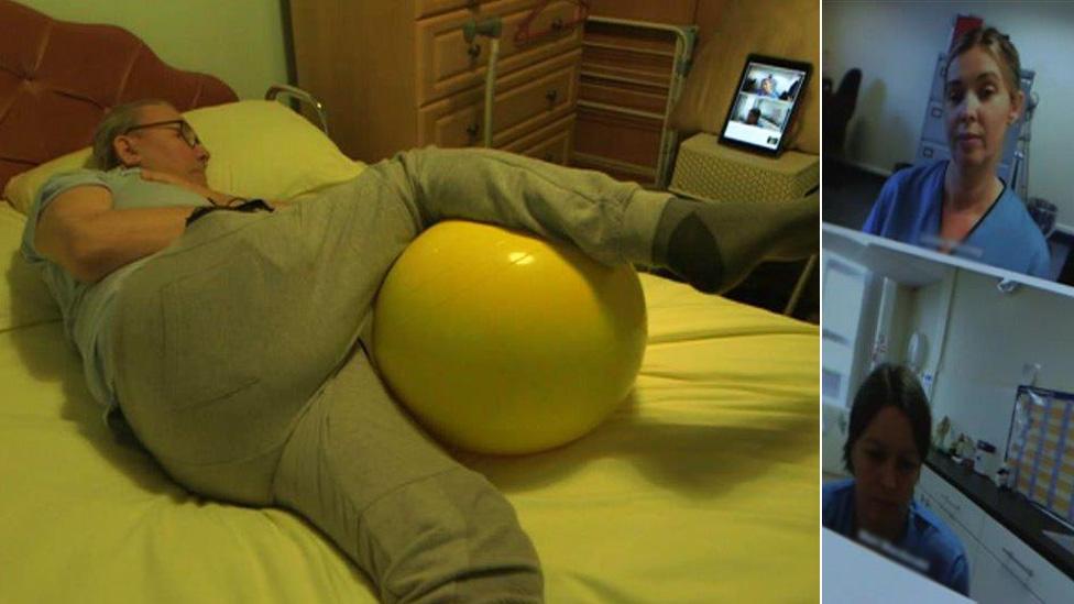 Eddie getting physiotherapy via iPad
