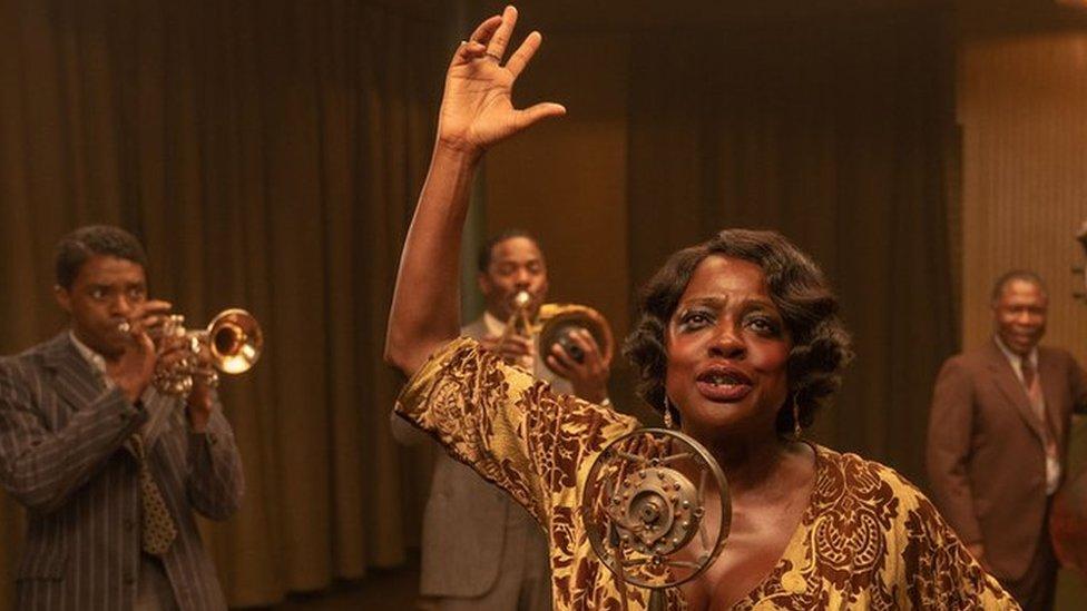 Chadwick Boseman and Viola Davis with other cast members of Ma Rainey's Black Bottom