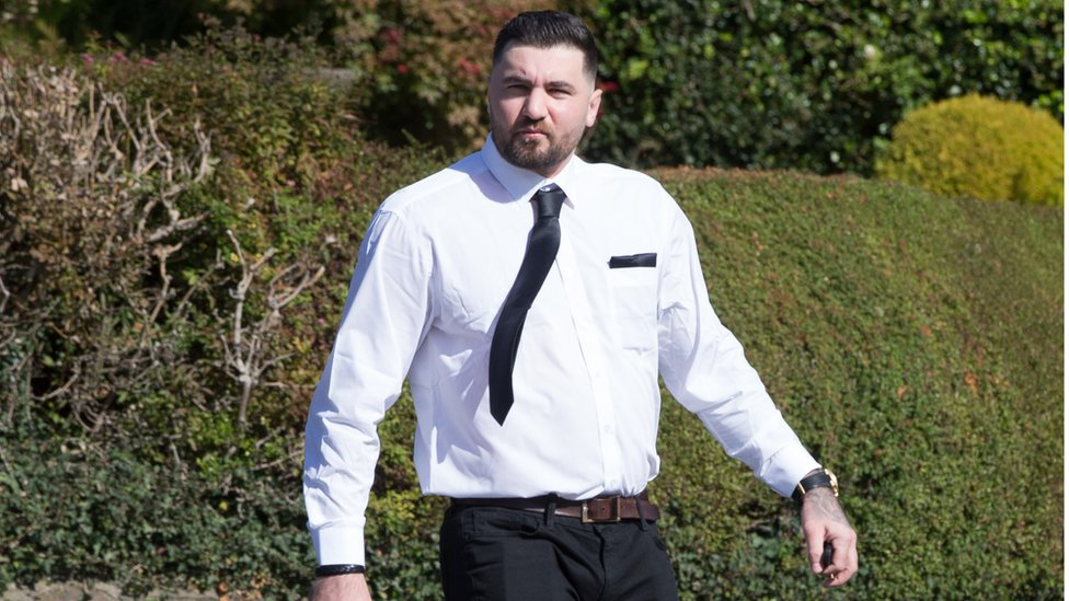 Two time world champion Nathan Cleverly arriving at the funeral of Enzo Calzaghe