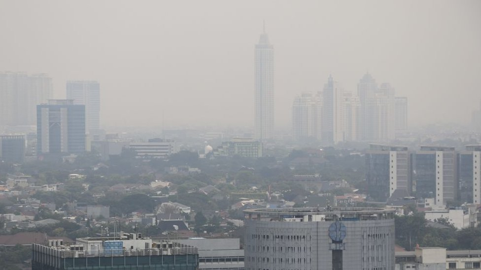 A general view of the Indonesian capital city of Jakarta as the smog covers the city on July 9, 2019