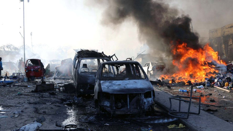 A general view shows the scene of an explosion in KM4 street in the Hodan district of Mogadishu, Somalia October 14, 2017