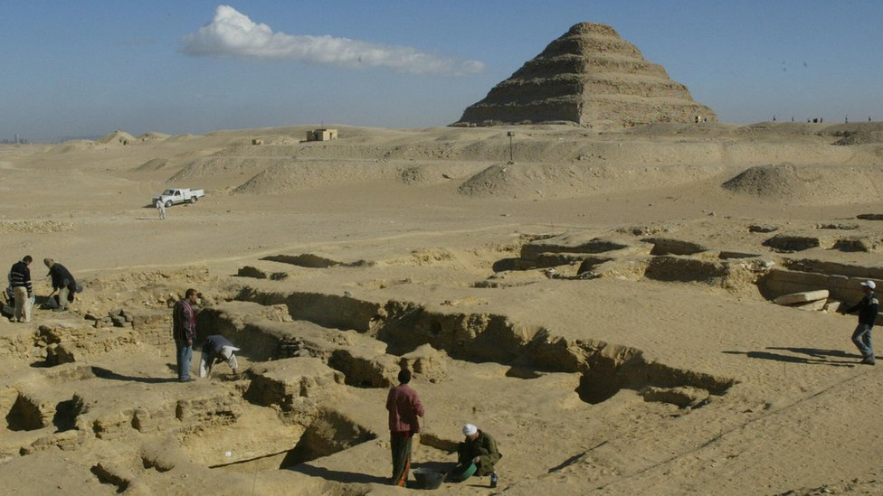 File photo 2008 of the Saqqara necropolis in wide shot, with the stepped pyramid seen in the background