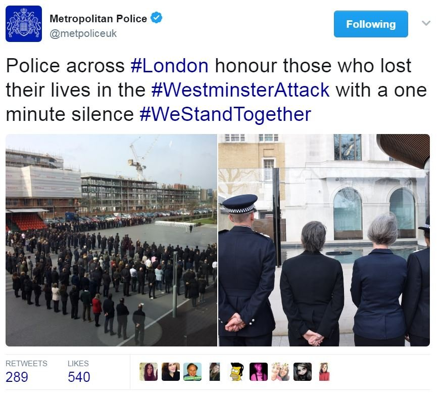 Screen grab of tweet by @metpoliceuk