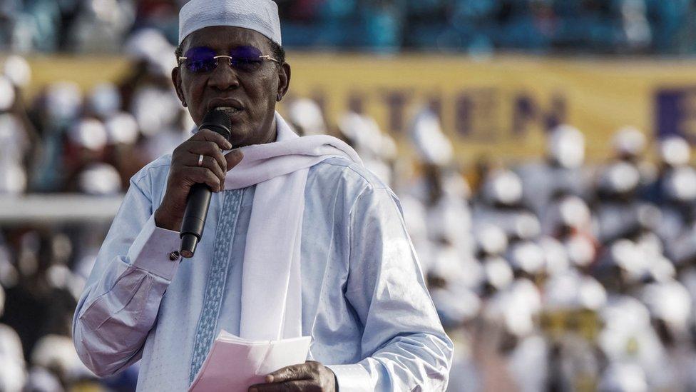 代比在乍得首都恩賈梅納一場總統競選集會上發言(9/4/2021)