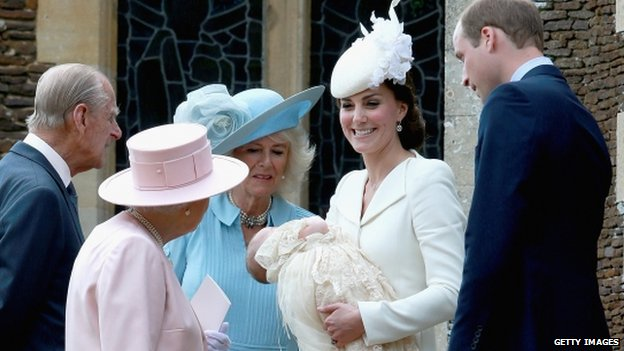 Queen and Prince Philip greet the Cambridges