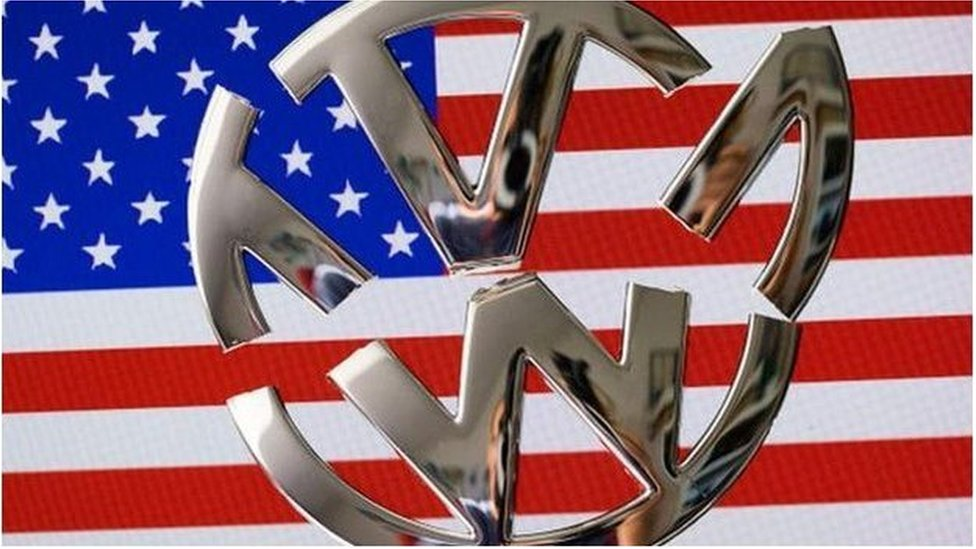 VW badge on US flag