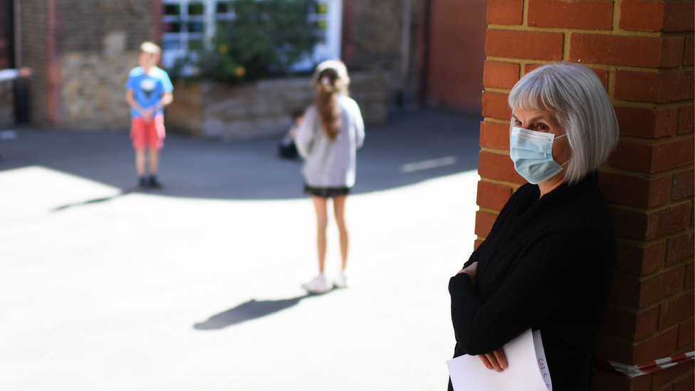 Teacher with a face-mask in school playground